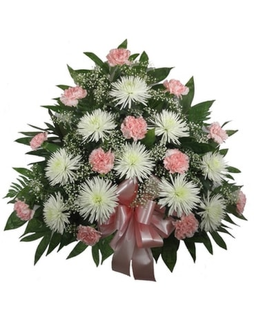 Timeless Traditions Pink Carnation and Fuji Mache Funeral Arrangement