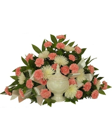 Timeless Traditions Pink Carnation Cremation Funeral Arrangement