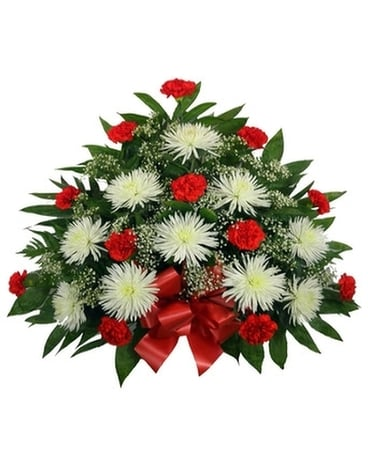 Timeless Traditions: Red Carnations Mache Funeral Arrangement