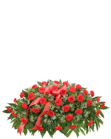 Timeless Traditions Red Carnation Casket Spray Funeral Arrangement