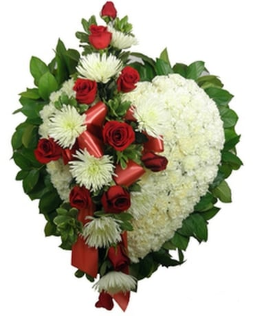 Signature Collection Heart with Spray Funeral Arrangement
