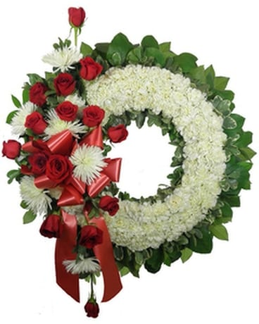 Signature Collection Wreath with Rose and Fuji Spr Funeral Arrangement