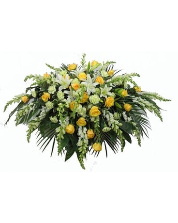 Sunshine Sentiments Deluxe Casket Spray Funeral Arrangement