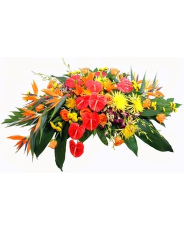 Tropical Casket Spray Funeral Arrangement