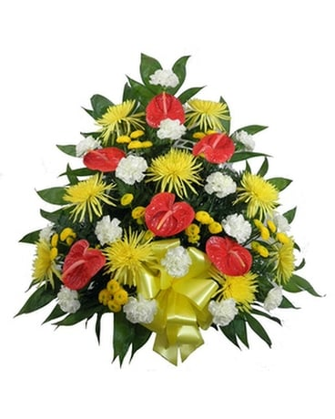 Tropical Paradise Mache Funeral Arrangement