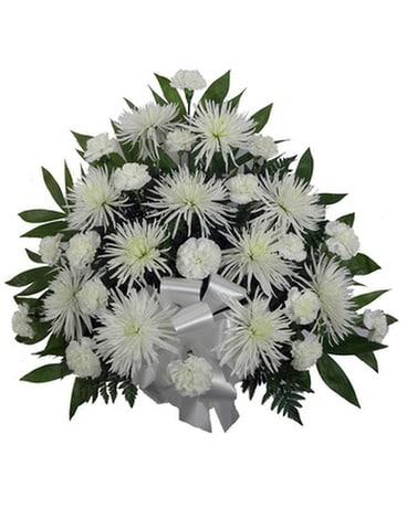 Simple devotion carnationfuji mache jennies flowers simple devotion carnationfuji mache funeral arrangement mightylinksfo