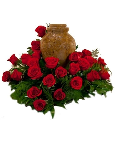 Red Rose Cremation Wreath Funeral Arrangement