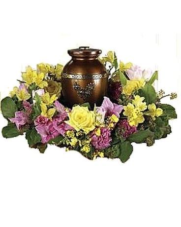 Spring Cremation Wreath Funeral Arrangement