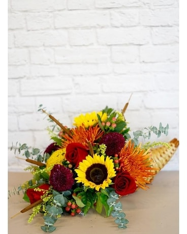Harvest Bounty Cornucopia Flower Arrangement