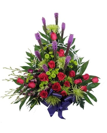 Youthful Rememberance Basket Funeral Arrangement