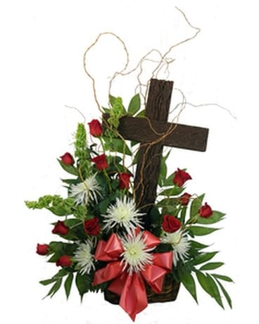 Rustic Memories Old Rugged Cross Basket Funeral Arrangement