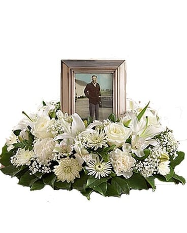 White Cremation Wreath Funeral Arrangement