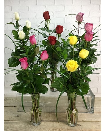 Assorted Rose Bud Vases Flower Arrangement