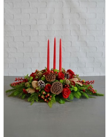 Christmas Cheer Centerpiece Flower Arrangement