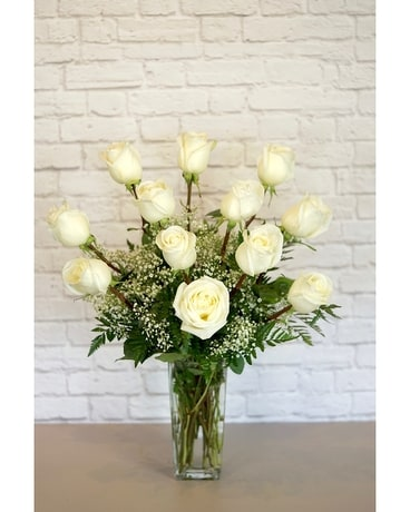 One Dozen Deluxe White Roses Flower Arrangement