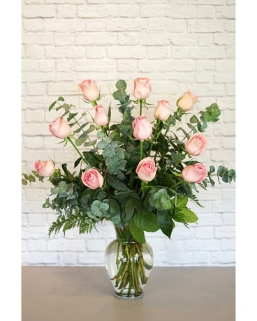 One Dozen Premium Pink Roses Flower Arrangement