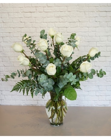 One Dozen Premium White Roses Flower Arrangement