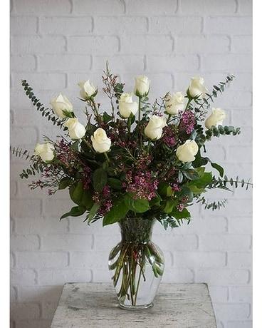 One dozen ultimate white roses piccolos florist one dozen ultimate white roses flower arrangement mightylinksfo