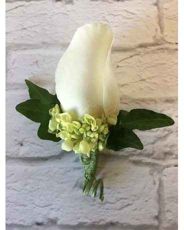 White and Green Boutonniere Boutonniere
