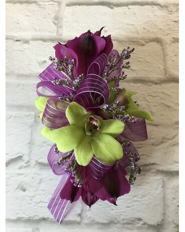 Green and Purple Wristlet Corsage