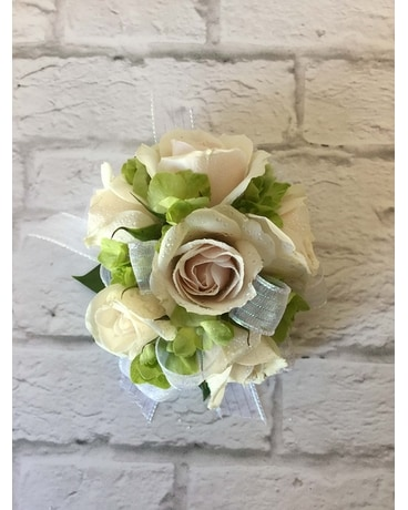White and Green Wristlet Corsage