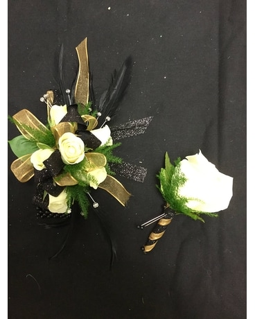 White, Gold and Black Prom Set Corsage