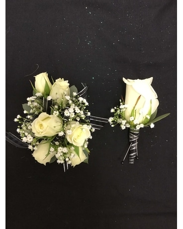 White, Silver and Black Prom Set Corsage