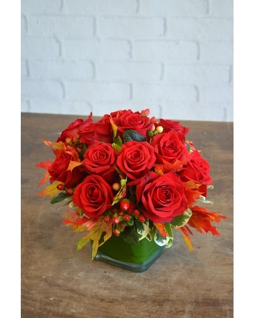 Fall Contempo Rose Cube Flower Arrangement