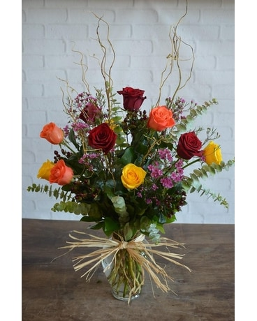 Fall One Dozen Ultimate Roses Flower Arrangement