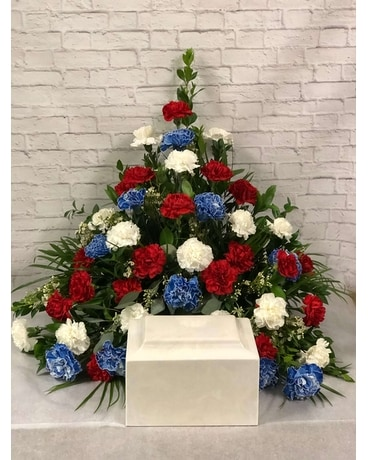 Veterans Tribute - Cremation Setting Flower Arrangement