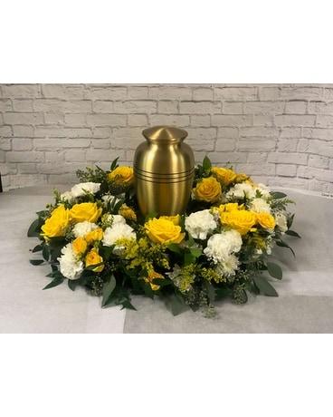 Yellow and White Cremation Wreath Flower Arrangement