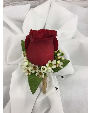 Red Rose Boutonniere Flower Arrangement