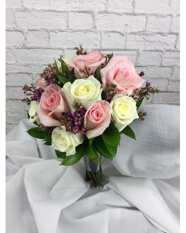 Pink & White Rose Nosegay Flower Arrangement