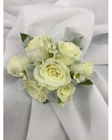 White Mini Rose Corsage Flower Arrangement