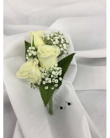 White Mini Rose Boutonniere Flower Arrangement
