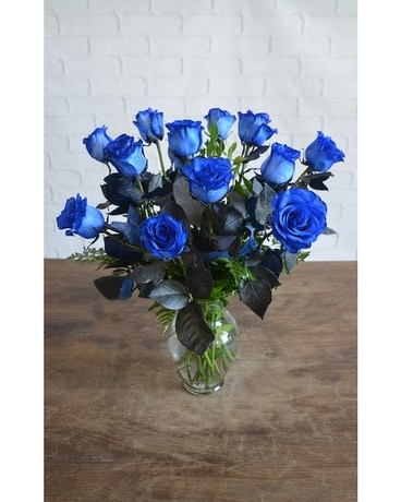 One Dozen Premium Blue Roses Flower Arrangement