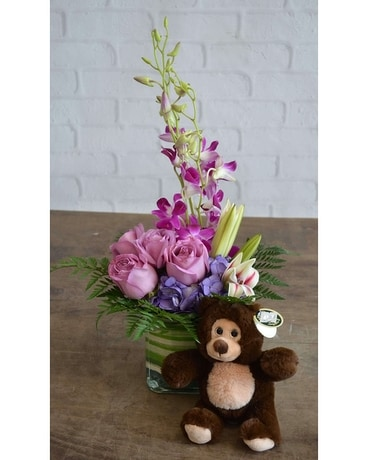 Purples in Paris & Small Bear Flower Arrangement