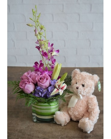 Purples in Paris & Medium Bear Flower Arrangement