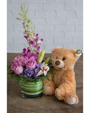Purples in Paris & Large Bear Flower Arrangement
