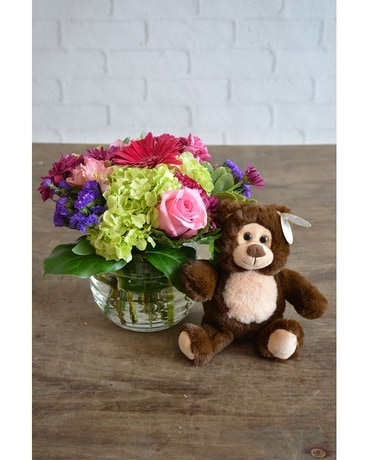 Happiness & Small Bear Flower Arrangement