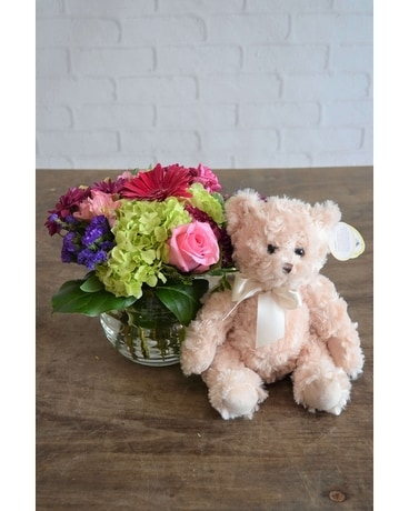 Happiness & Medium Bear Flower Arrangement