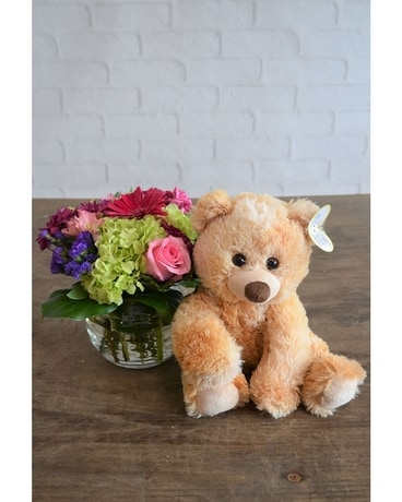 Happiness & Large Bear Flower Arrangement
