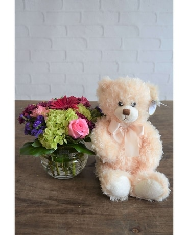 Happiness & Extra Large Bear Flower Arrangement