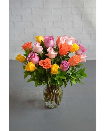 Mixed Colored Roses Flower Arrangement