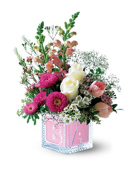 Teleflora's Baby Block (Girl) Flower Arrangement