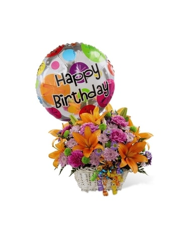 Birthday Bokay with Balloon! Flower Arrangement