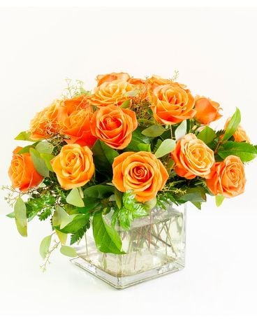 Orange Rose Cube Flower Arrangement