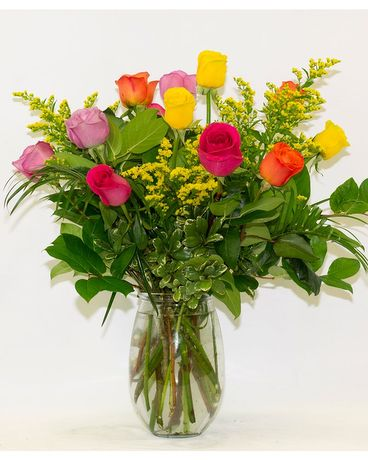 Colorful Assorted Roses Flower Arrangement