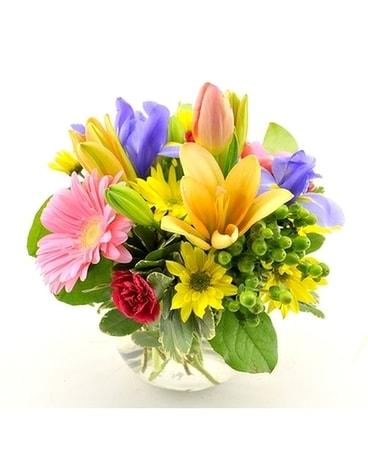 Low Mixed Spring Vase Flower Arrangement