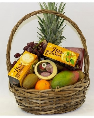 Fruit, Cheese & Cracker Gift Basket Flower Arrangement